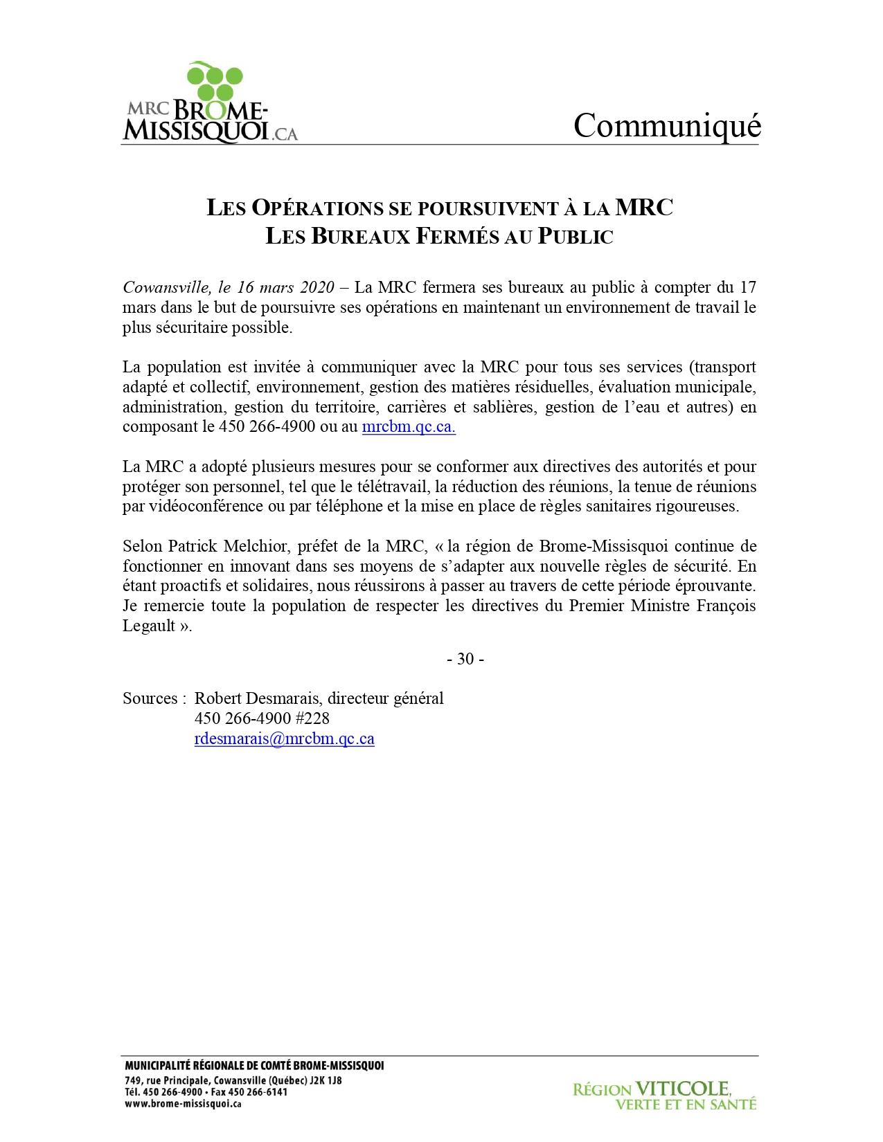 (Français) MRC/CLD de Brome-Missisquoi - bureaux fermés au public