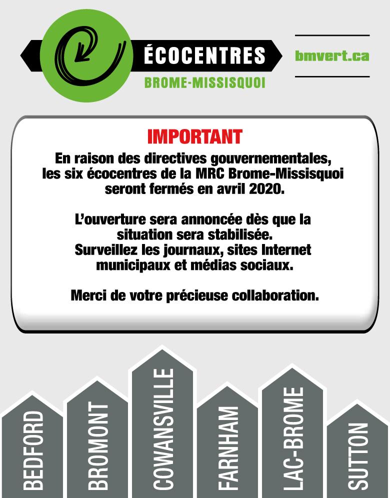 (Français) Écocentres de la MRC fermés en avril