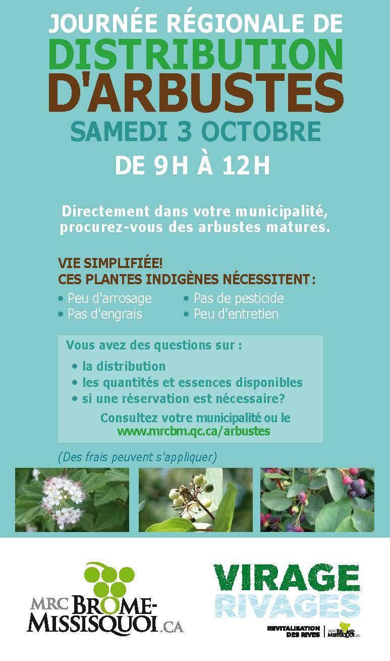 Journée régionale de distribution d'arbustes - samedi 3 octobre 2020